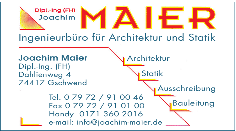Joachim Maier Ingenieurbüro für Architektur und Statik