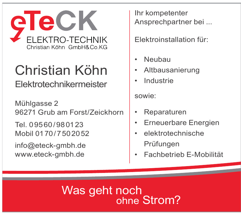 eTeCK Elektro-Technik Christian Köhn GmbH & Co. KG