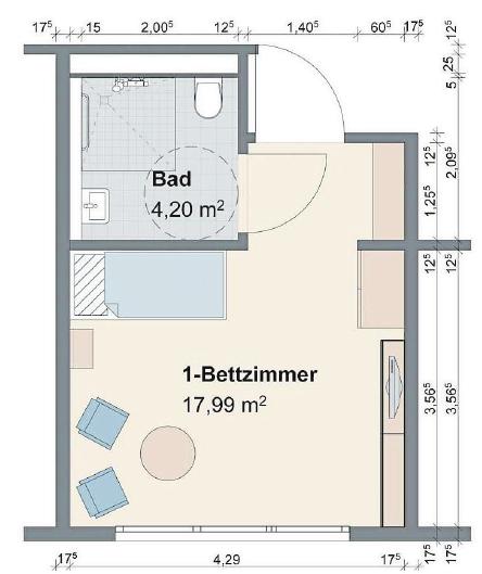 Muster eines Einzelzimmers