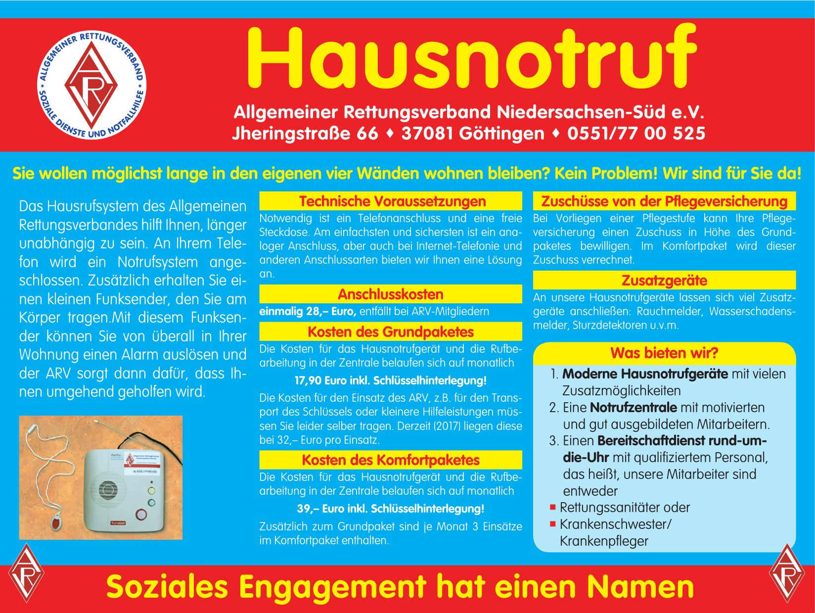 Hausnotruf - Allgemeiner Rettungsverband Niedersachsen-Süd e.V.