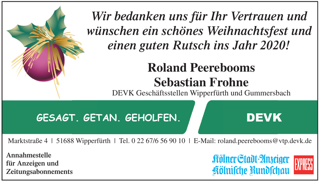 DEVK Geschäftsstellen Wipperfürth und Gummersbach - Roland Peerebooms, Sebastian Frohne