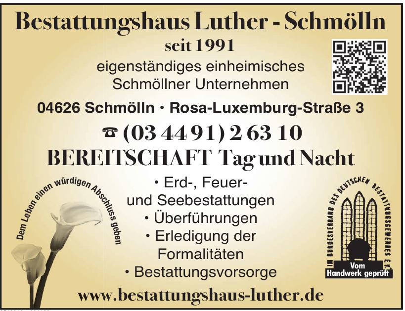 Bestattungshaus Luther-Schmöln
