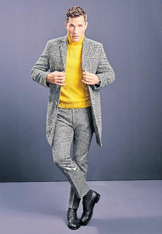 Etwas auffälliger: Roy Robson setzt auf eine Kombination aus strahlendem Gelb und Grau. Foto: Roy Robson/dpa-tmn