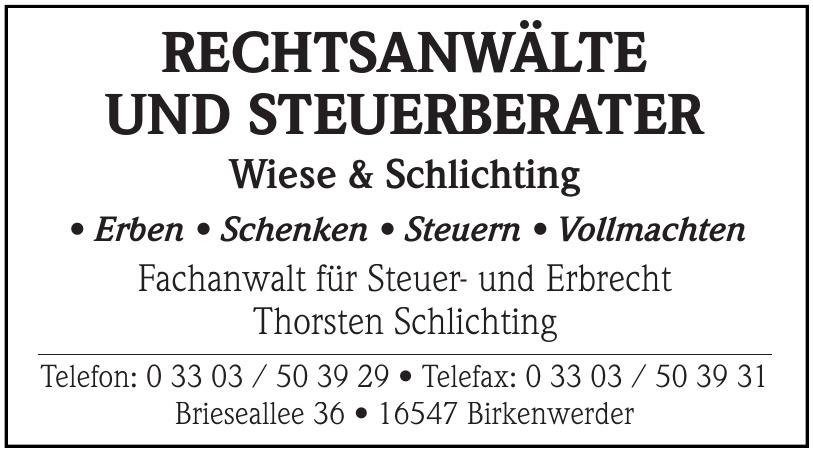 Rechtsanwälte und Steuerberater Wiese & Schlichting