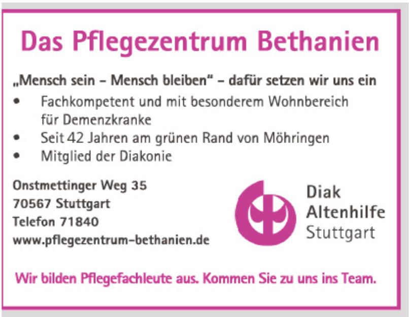 Das Pflegezentrum Bethanien