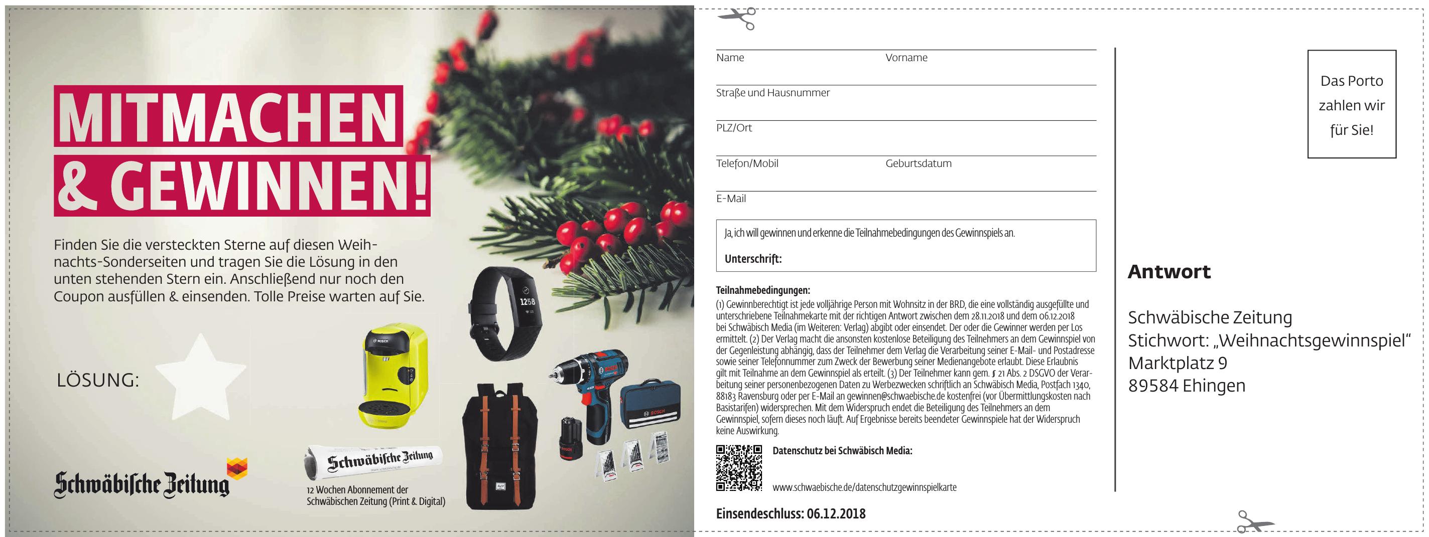 """Schwäbische Zeitung """"Weihnachtsgewinnspiel"""""""
