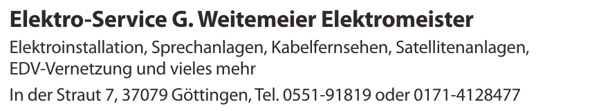 Elektro-Service G. Weitemeier Elektromeister