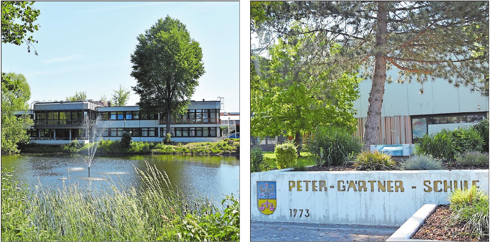 Zeichen des Zusammenschlusses: die Gemeindeverwaltung am Schwarzweiher und die Peter-Gärtner-Schule. FOTOS: CLEMENS