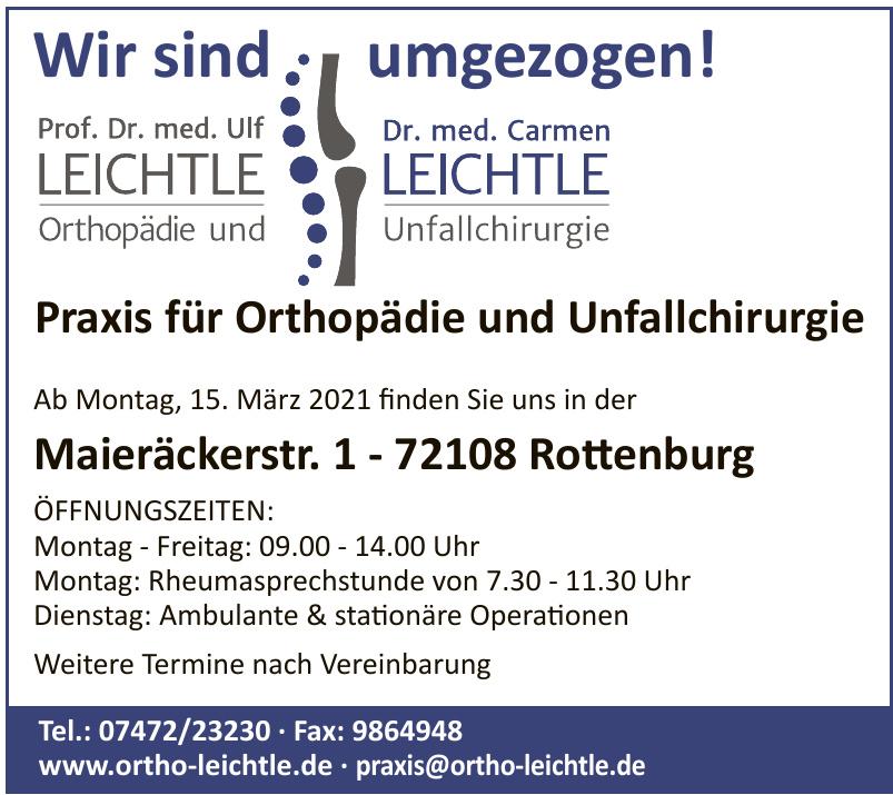 Prof.Dr. med. Ulf Leichtle, Dr. med. Carmen Leichtle Orthopädie und Unfallchirurgie