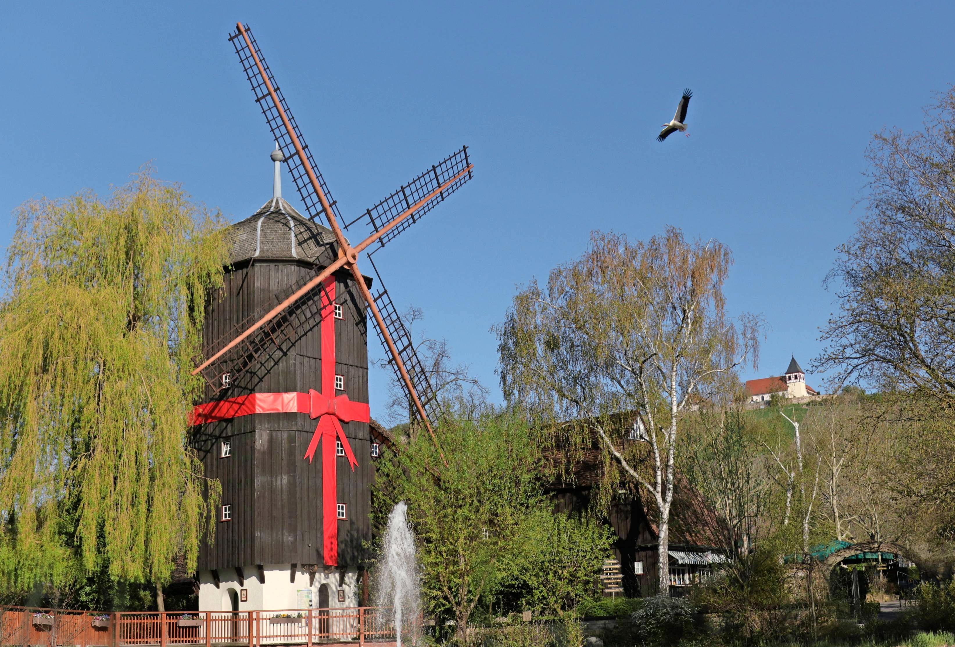 Die Altweibermühle wurde zum 90-jährigen Park-Jubiläum mit einer auffälligen roten Schleife versehen und als Geschenk verpackt.