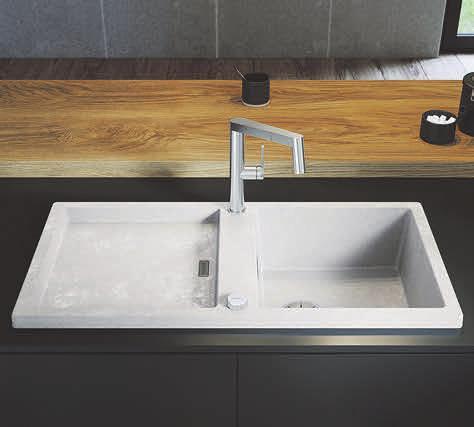 """Prägnant: Mit Silgranit-Spülen in Beton-Optik, wie der puristischen """"Blanco Adon XL 6 S"""" in der neuen Farbe """"Beton-Style"""", lassen sich trendstarke Akzente in jeder Küche setzen. Foto: epr/BLANCO"""