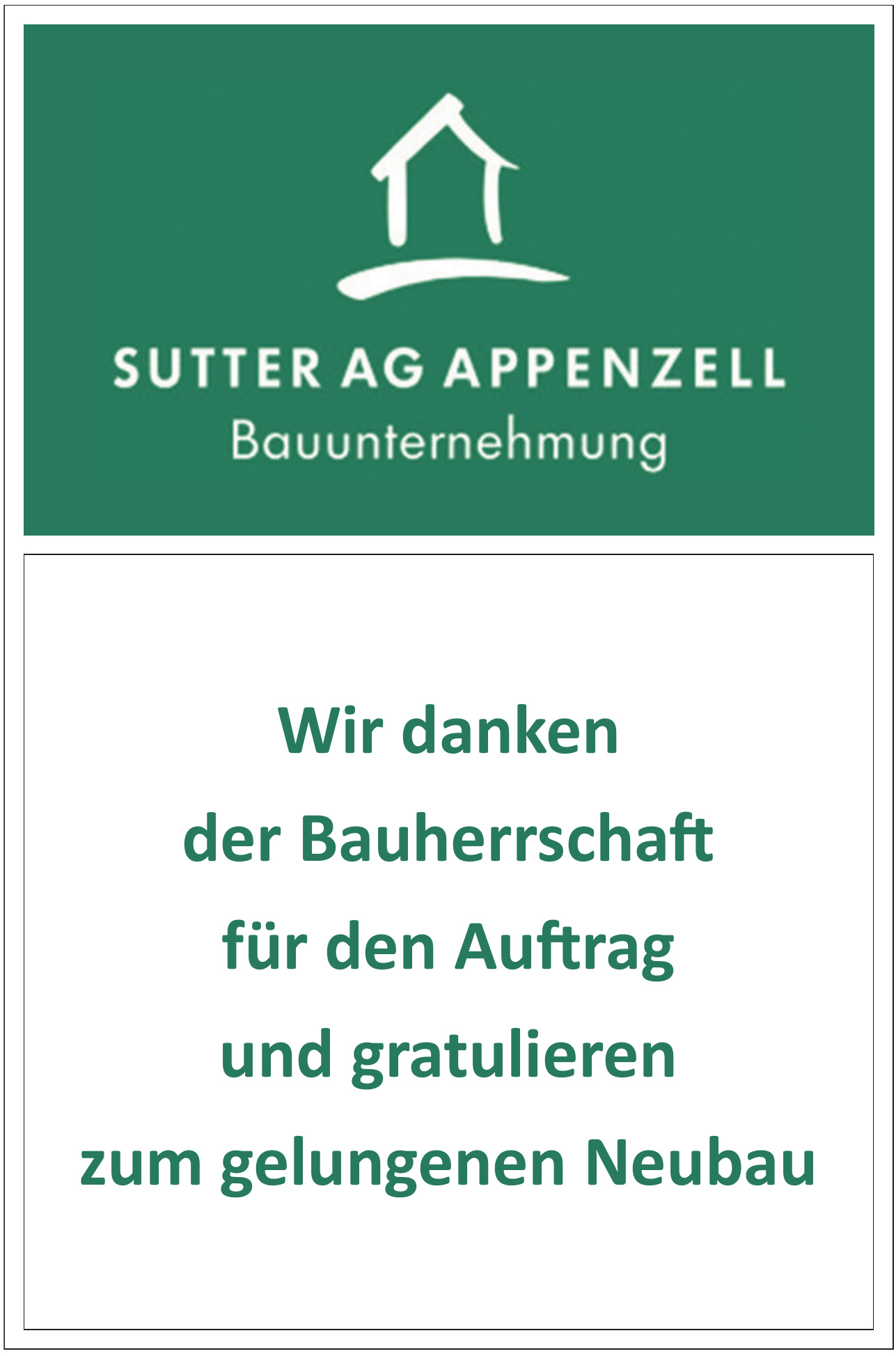 Sutter AG Appenzell Bauunternehmung