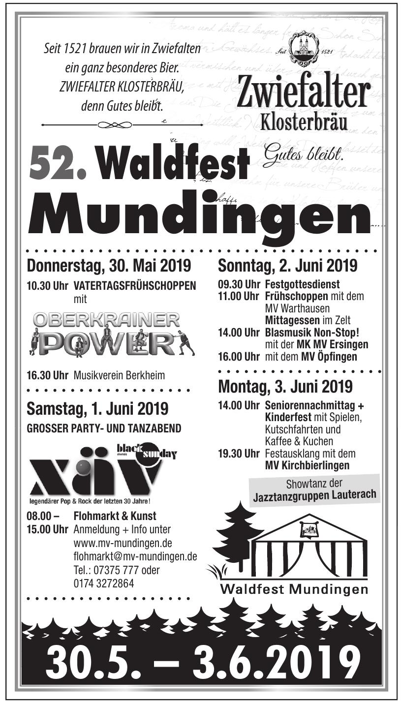 52. Waldfest Mundingen