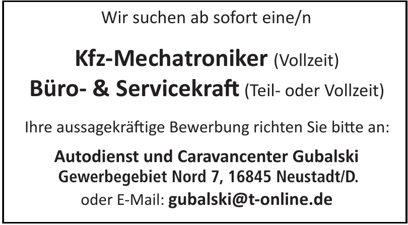 Autodienst und Caravancenter Gubalski