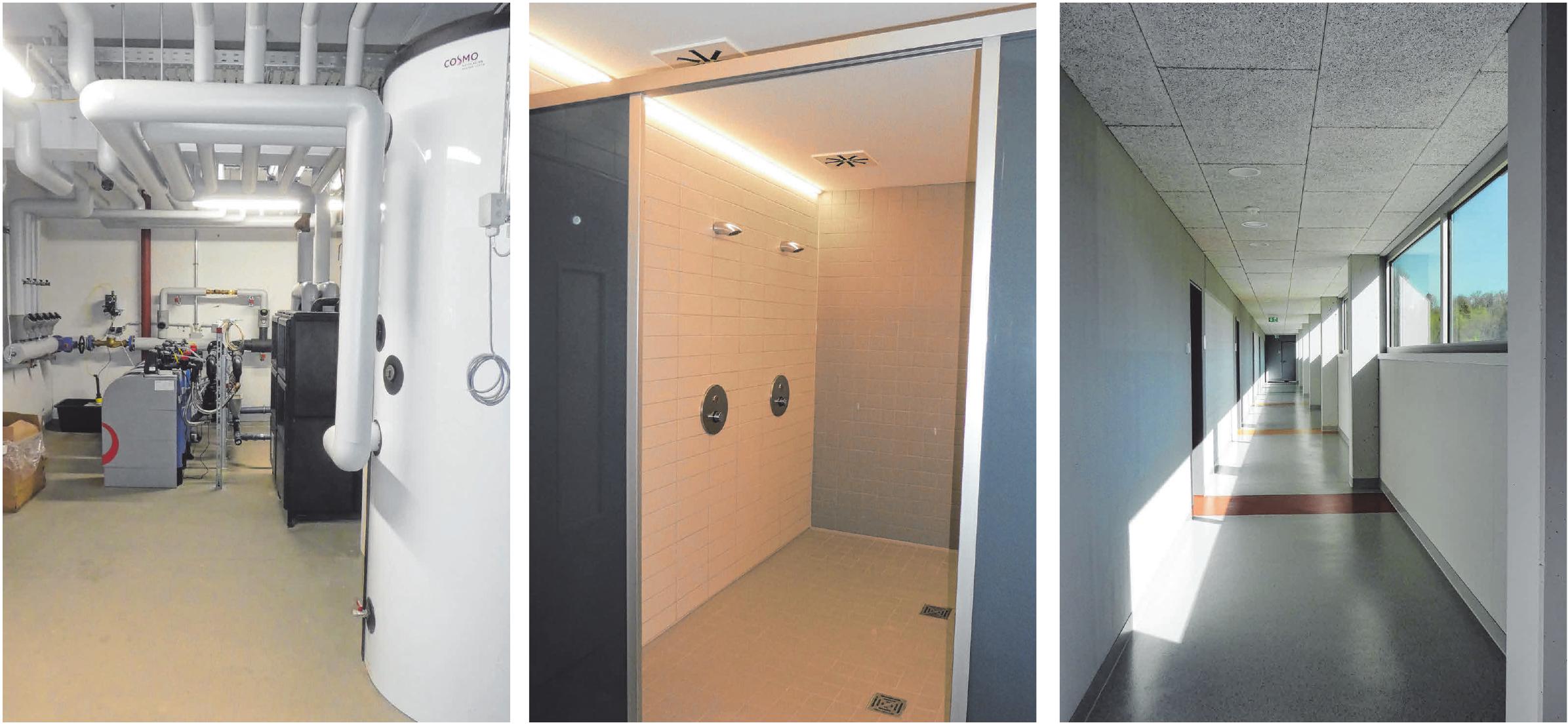 Die Technik wurde komplett erneuert (Foto links). Die Duschen wurden und Sanitärräume wurden zeitgemäß ausgestattet (Foto Mitte). Den Flur, von dem die Kabinen abzweigen, gliedern gelbe, grüne und rote Streifen auf dem Boden (Foto rechts). FOTOS: STADT WANGEN