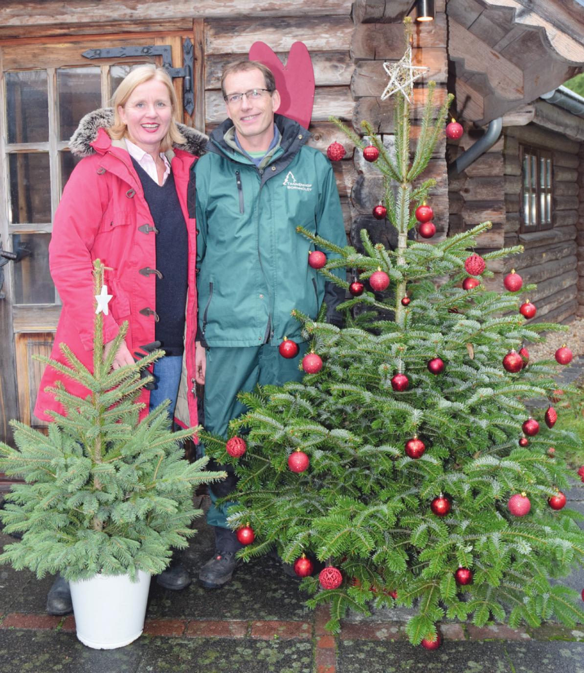 Henning Bornholdt und seine Frau Ingrid Körner-Bornholdt haben zum Adventsspektakel mit Weihnachtsbaumverkauf auf ihrem Hof in Lutzhorn wieder einiges vorbereitet Foto: Kuno Klein
