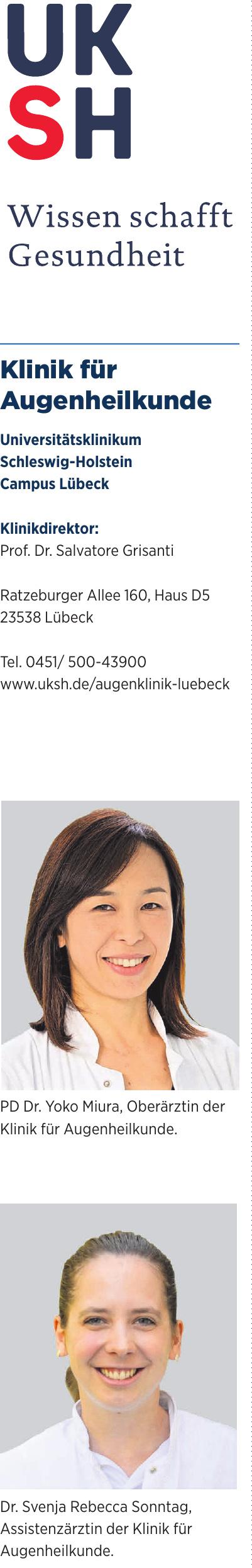 Klinik für Augenheilkunde - Universitätsklinikum Schleswig-Holstein Campus Lübeck
