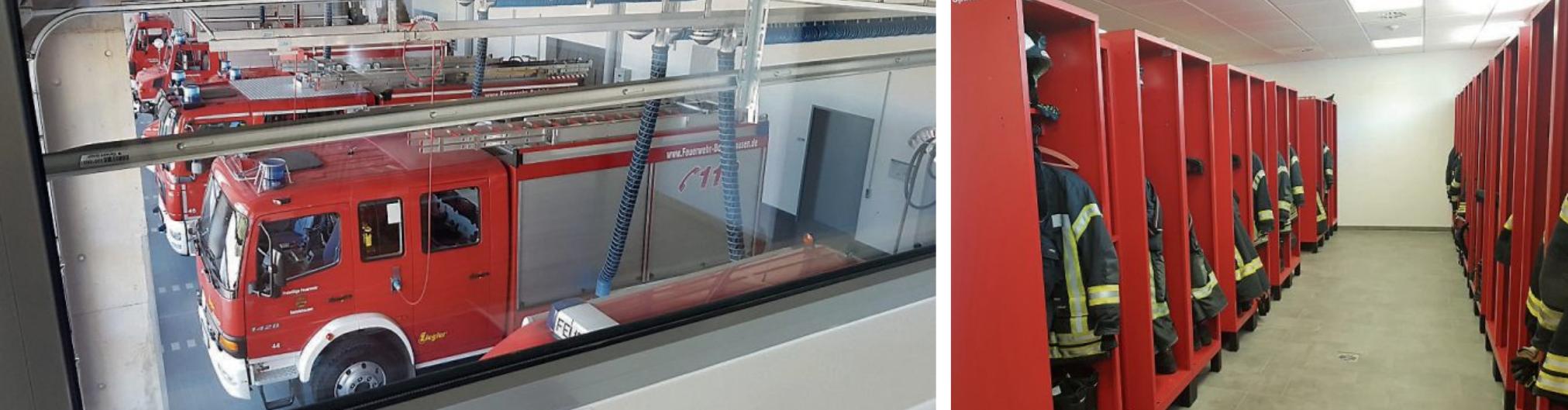 Die Einsatzfahrzeuge auf den Stellplätzen in der Fahrzeughalle und die neuen Spinde im Feuerwehrhaus. Bilder: Gemeinde Bodelshausen