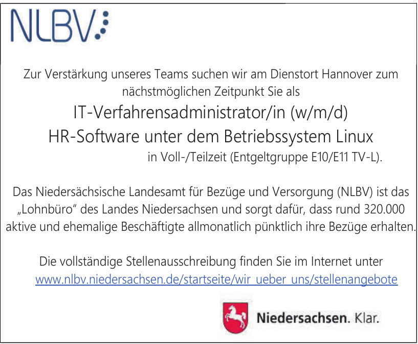 Das Niedersächsische Landesamt für Bezüge und Versorgung (NLBV)