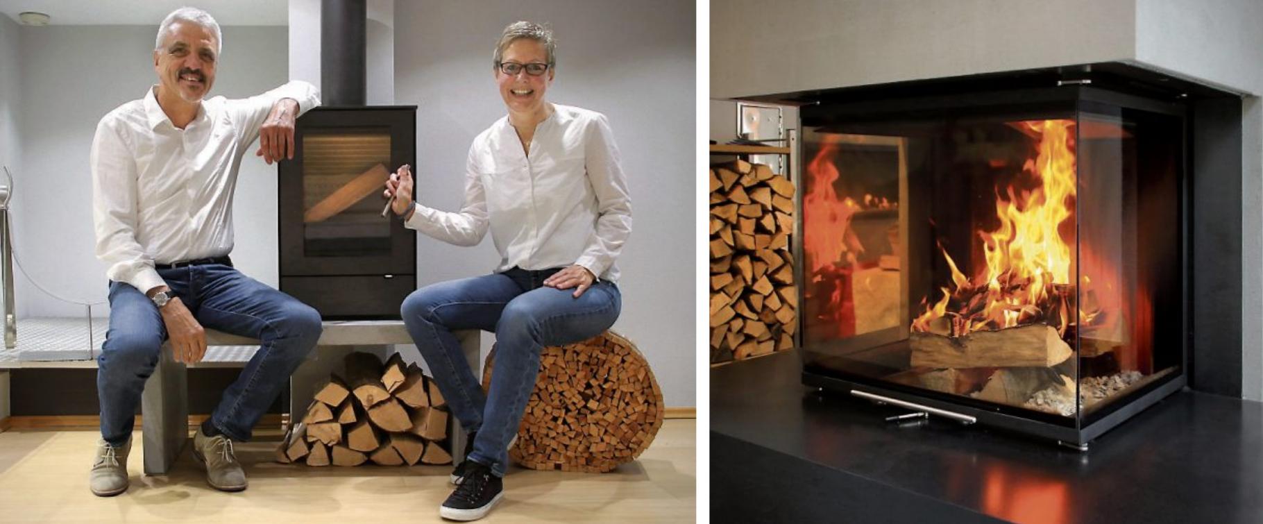 Karl-Friedrich und Christine Fauser, die Inhaber der Ofenmanufaktur Fauser. Daneben lodert das Feuer im schönen Kamin, der im Eingangsbereich des Ladens zu sehen ist. Bilder: Erich Sommer