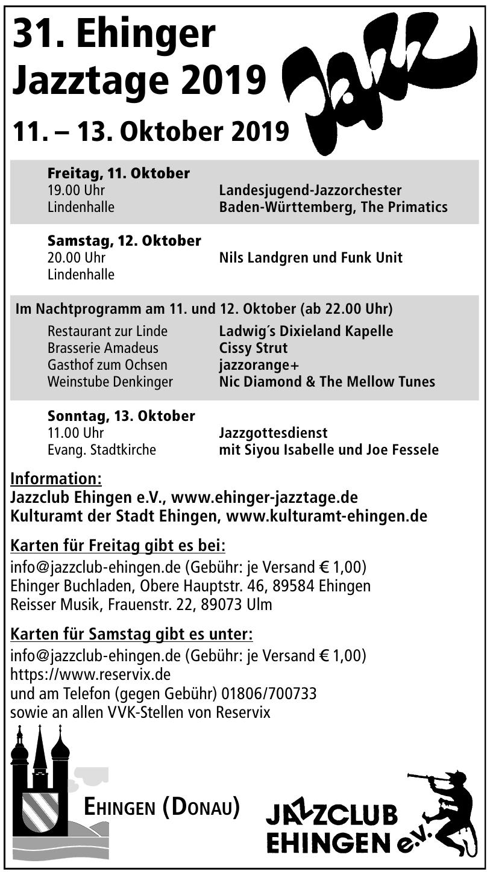 31. Ehinger Jazztage 2019