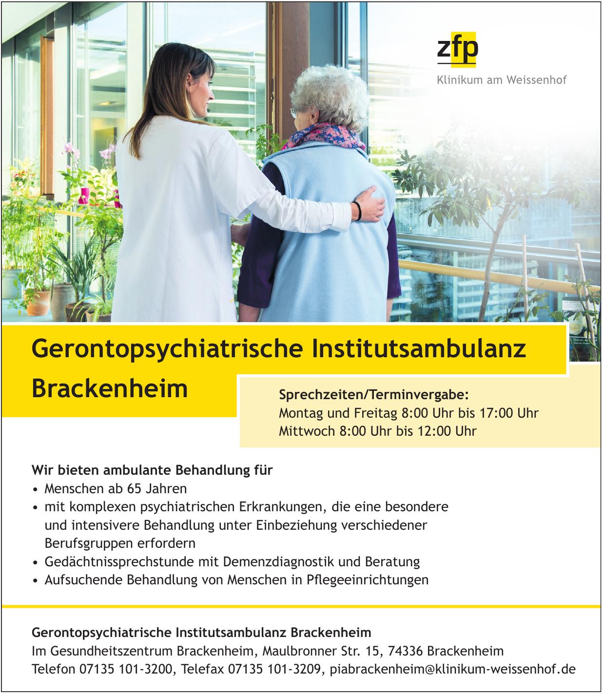 Gerontopsychiatrische Institutsambulanz Brackenheim