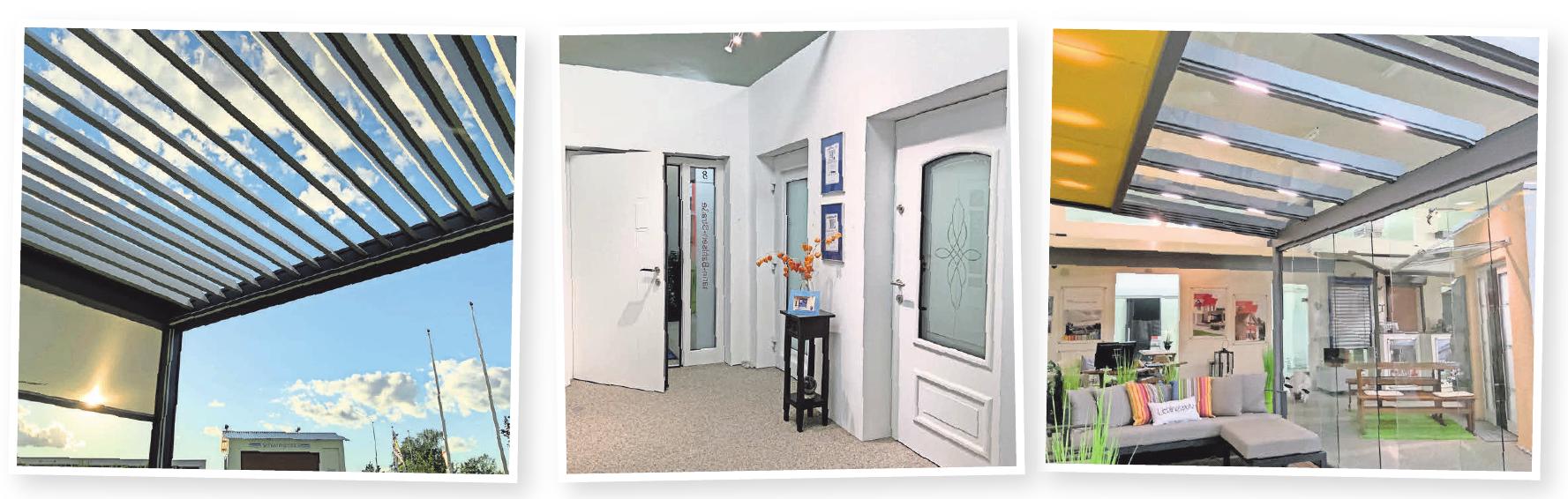 Bilder von links nach rechts: Outdoorliving – dafür bietet das Unternehmen alles von der Markise bis zu flexiblen Glas- und Stahlvarianten. Die neuen Haustürmodelle können die Besucher in der großen Ausstellung erleben. Dank rahmenloser Ganzglasschiebetüren können Wintergartenbesitzer die Natur auch bei schlechtem Wetter genießen.