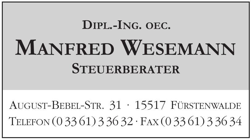 Dipl.-Ing. oec Manfred Wesemann - Steuerberater