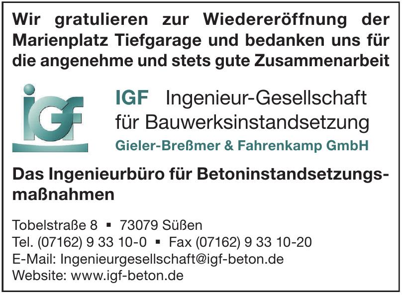 IGF Ingenieur-Gesellschaft für Bauwerksinstandsetzung Gieler-Breßmer & Fahrenkamp GmbH