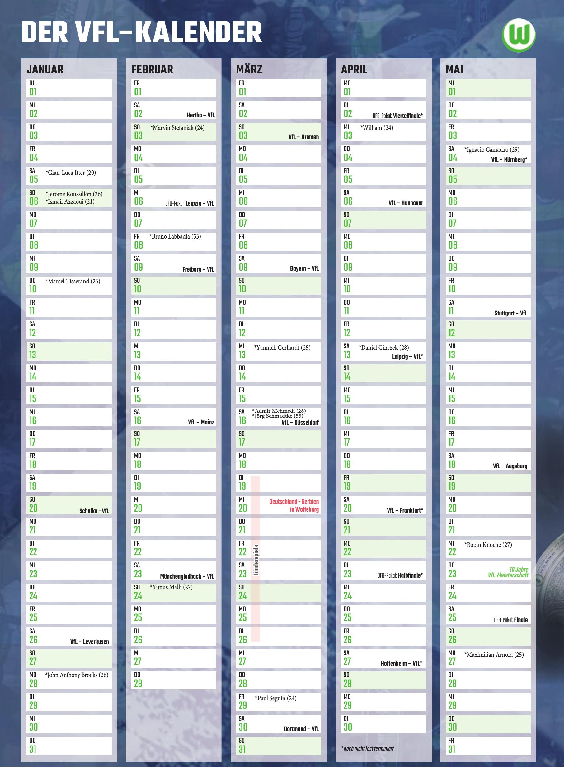 Der VfL–Kalender