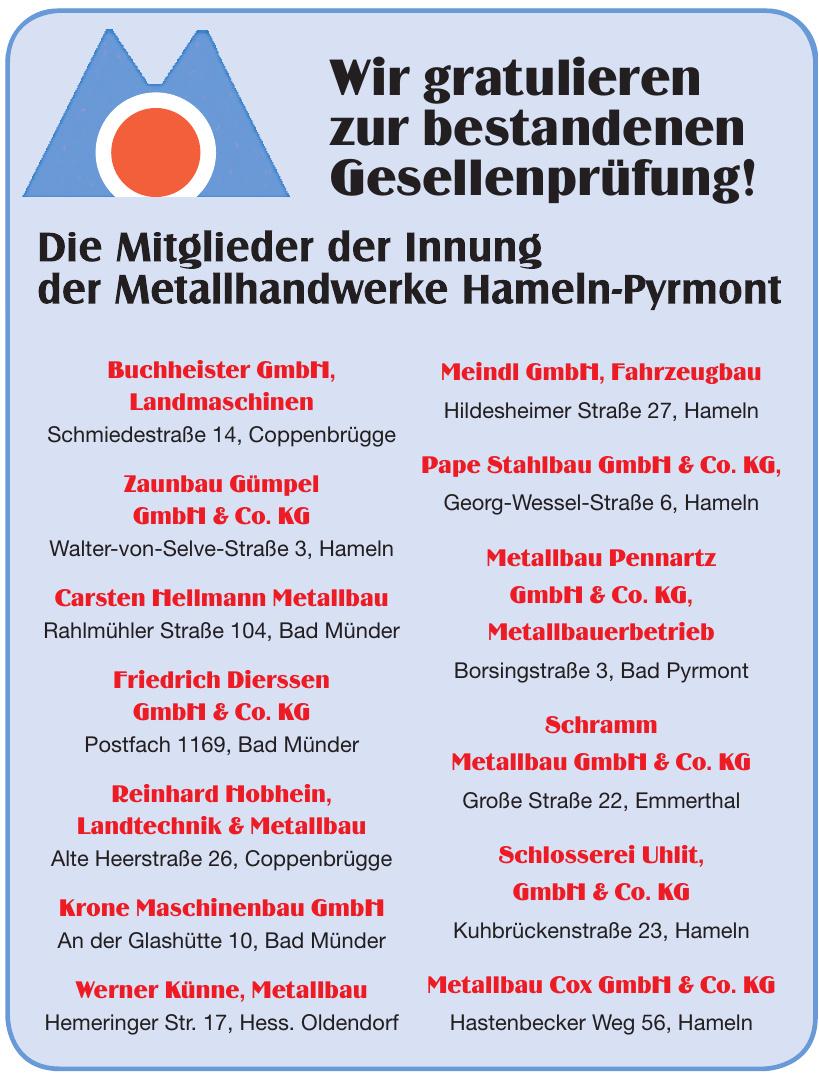 Metallhandwerke Hameln-Pyrmont