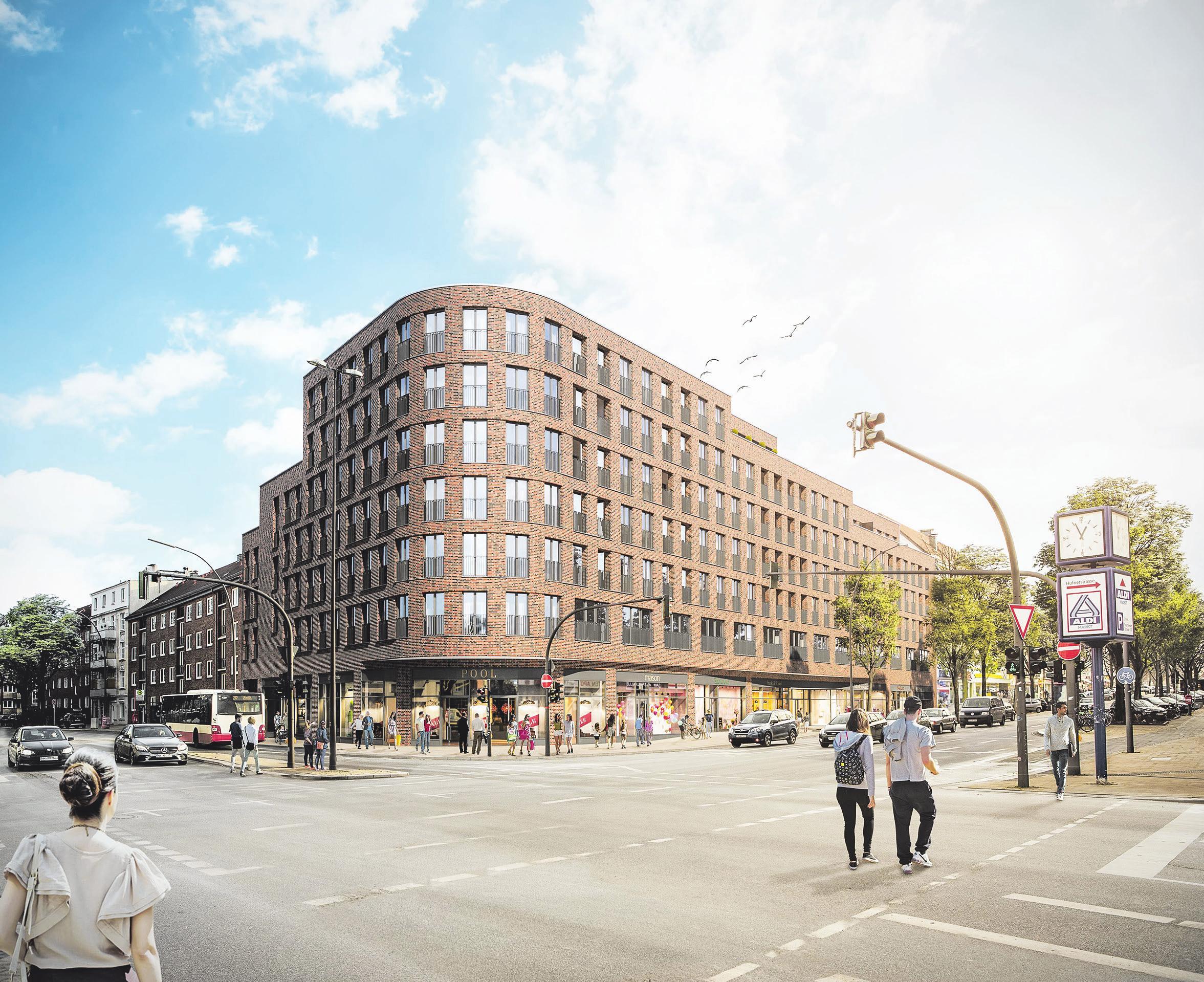 Der Barmbeker Bogen wird ein Shoppingund Freizeitangebot auf zwei Etagen, 48 Eigentumswohnungen und 32 Apartments beherbergen. Wer hier wohnt, hat kurze Wege