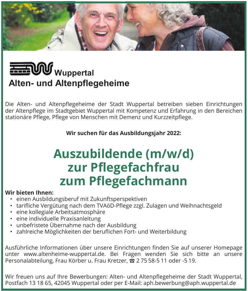 Alten- und Altenpflegeheime der Stadt Wuppertal