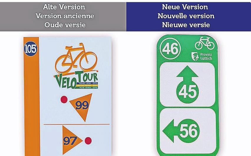 Zur Orientierung die alte und neue Kennzeichnung der Wege.