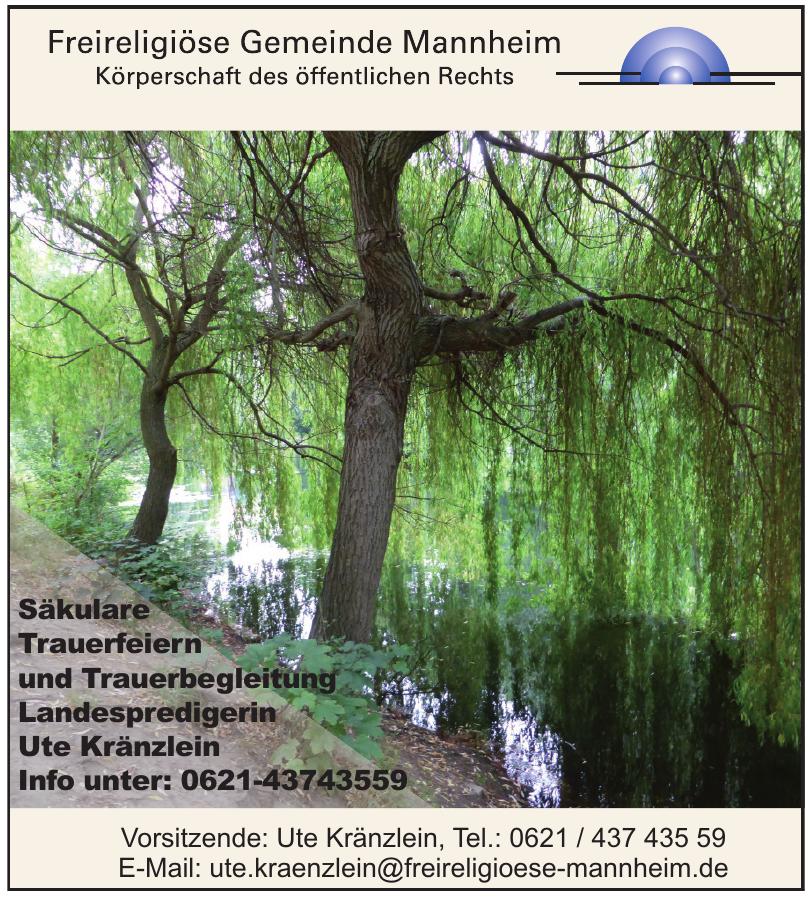 Frireligiöse Gemeinde Mannheim - Landespredigerin Ute Kränzlein