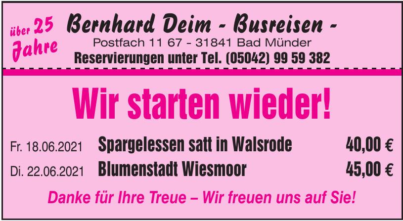 Bernhard Deim - Busreisen