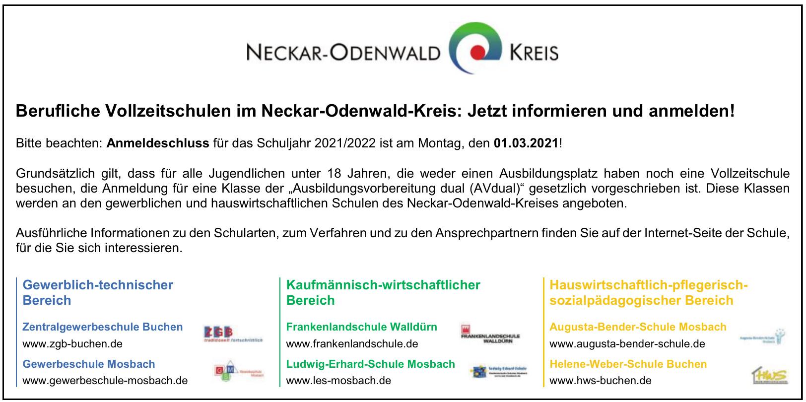 Berufliche Vollzeitschulen im Neckar-Odenwald-Kreis