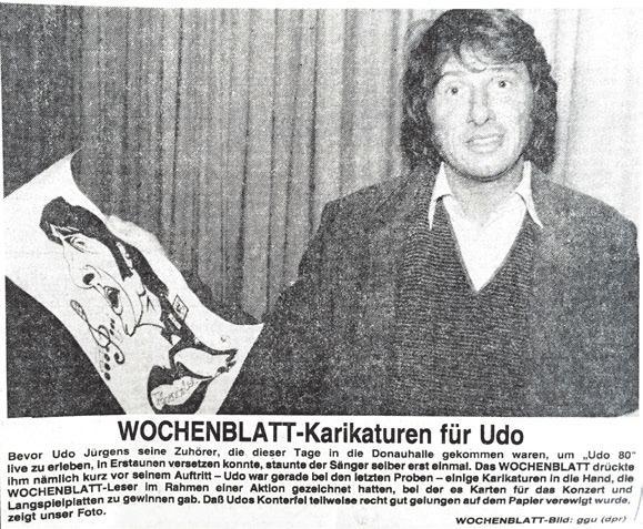 Udo Jürgens wurde von einem Leser des ulmer wochenblattes porträtiert – das Ergebnis wurde dem Sänger bei seinem Konzert in Ulm im Jahre 1980 übergeben.Some caption
