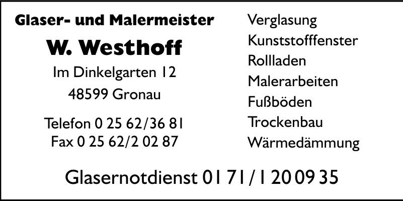 Glaser- und Malermeister W. Westhoff