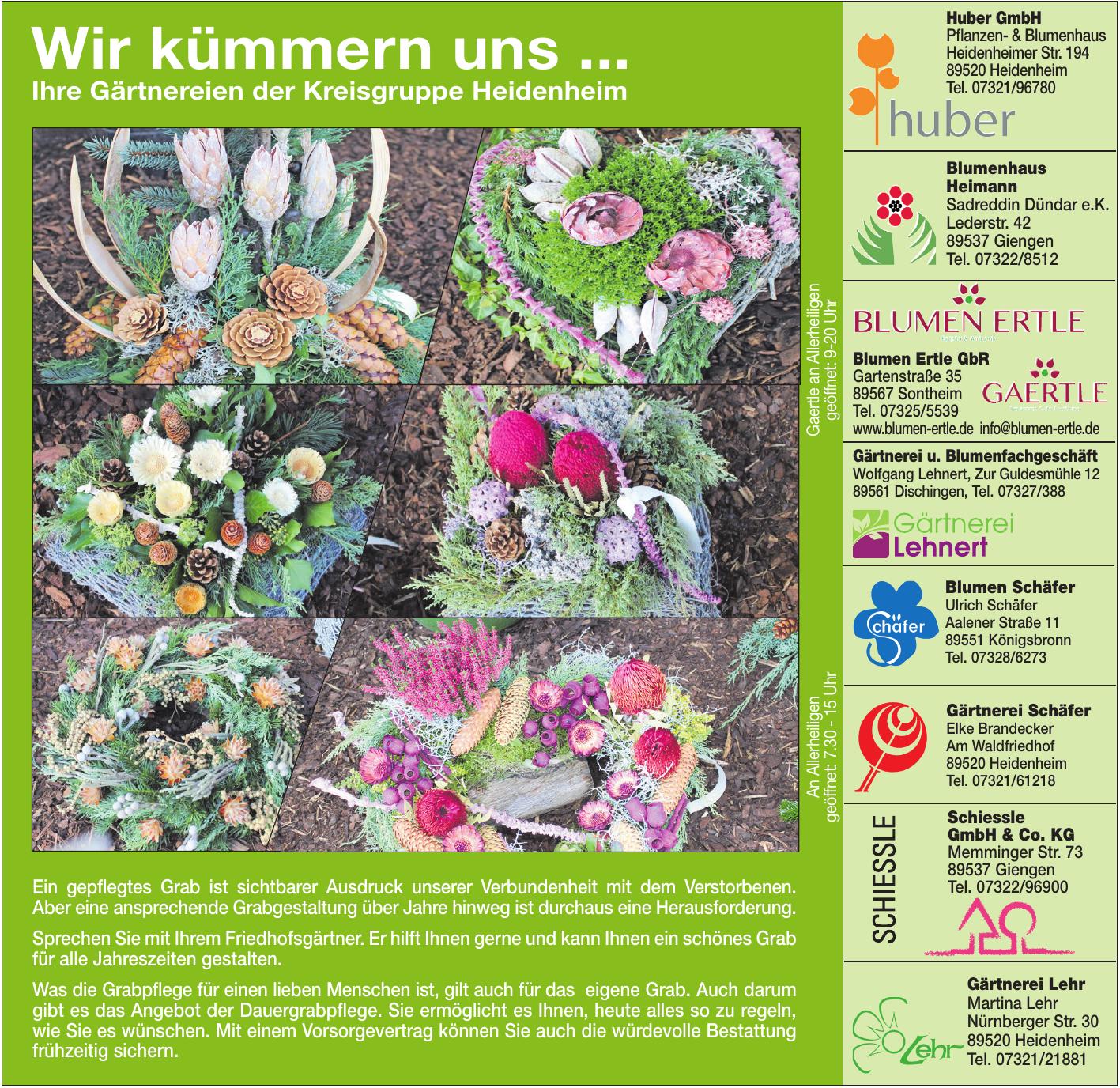 Gärtnereien der Kreisgruppe Heidenheim