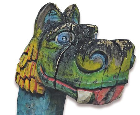 Die alte Wikingerschaukel hatte einen markanten Drachenkopf Bild: Kämpf