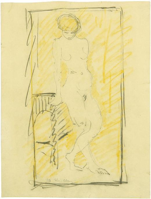 Otto Mueller, Stehender weiblicher Akt, um 1928. Foto: Winterberg Kunst