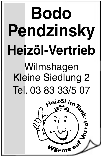Bodo Pendzinsky Heizöl-Vertrieb
