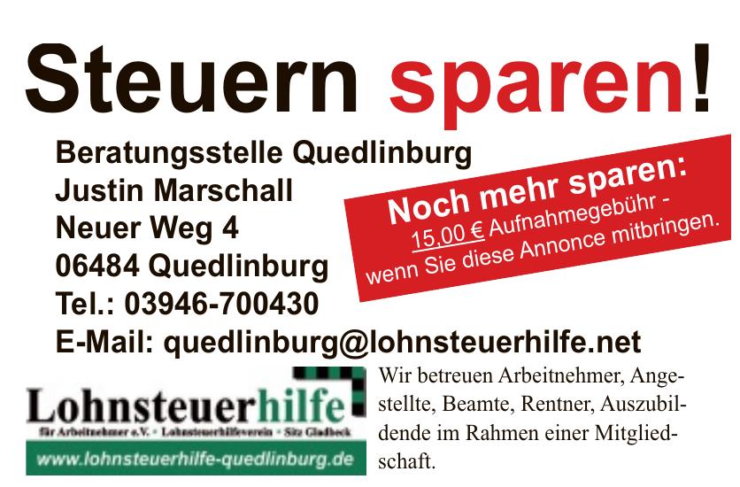 Lohnsteurhilfe - Beratungsstelle Quedlinburg Justin Marschall