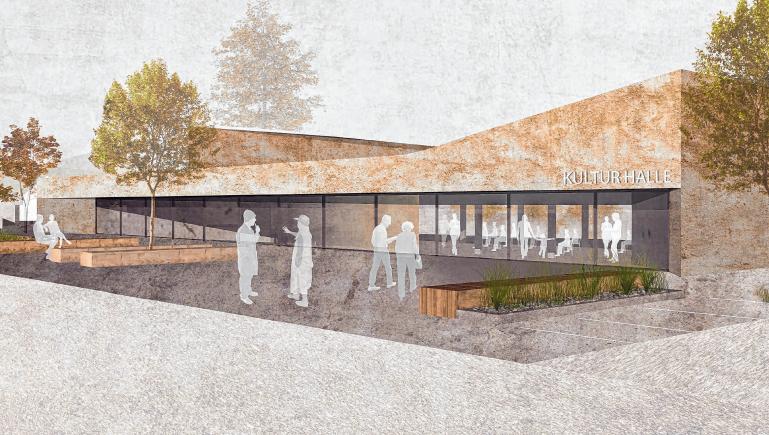 Zu teuer: Weil die Kosten weiter ansteigen, soll die neue Stadt- und Kulturhalle in Gammertingen kleiner ausfallen. Illustration: Steimle Architekten