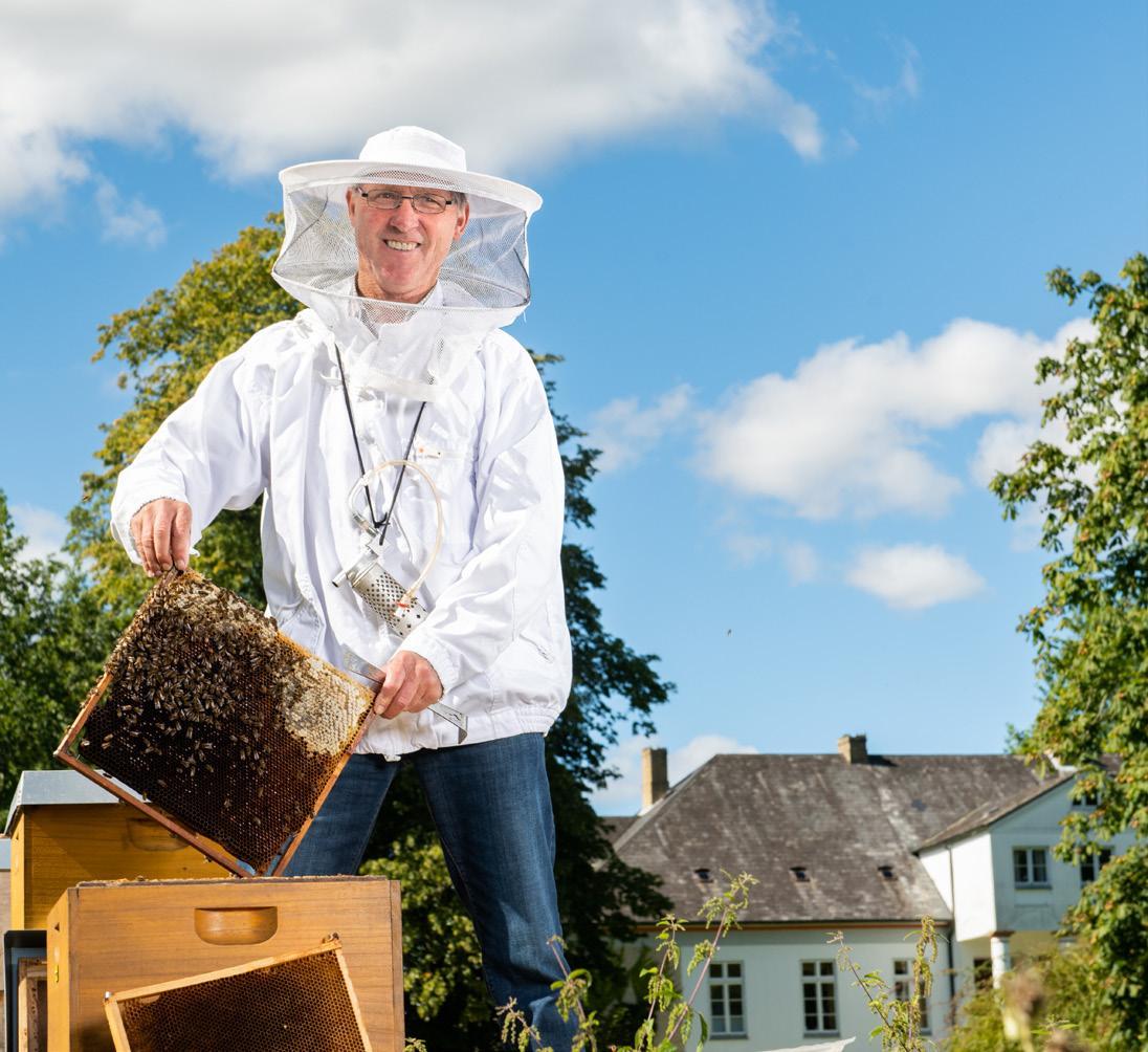 """Betriebsimker Bernhard Gaebel betreut vier Honigbienen-Völker auf Gut Drült. Mit dem Projekt """"Blühende Bienenwiesen"""" leisten die Stadtwerke Kiel gemeinsam mit ihren Kunden und Landwirten aus der Region einen wichtigen Beitrag, um dem Bienensterben entgegenzuwirken. FOTO: STADTWERKE KIEL/MANUEL WEBER"""