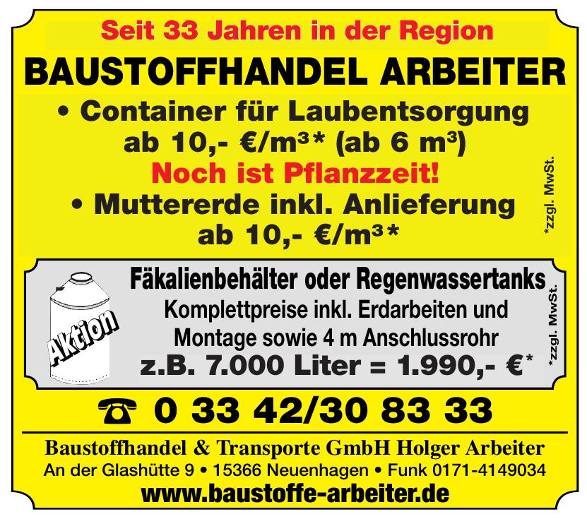 Baustoffhandel & Transporte GmbH Holger Arbeiter