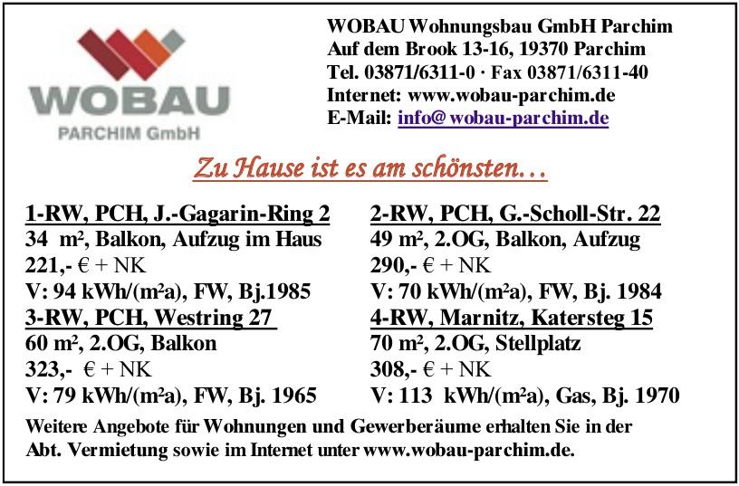 WOBAU Wohnungsbau GmbH Parchim