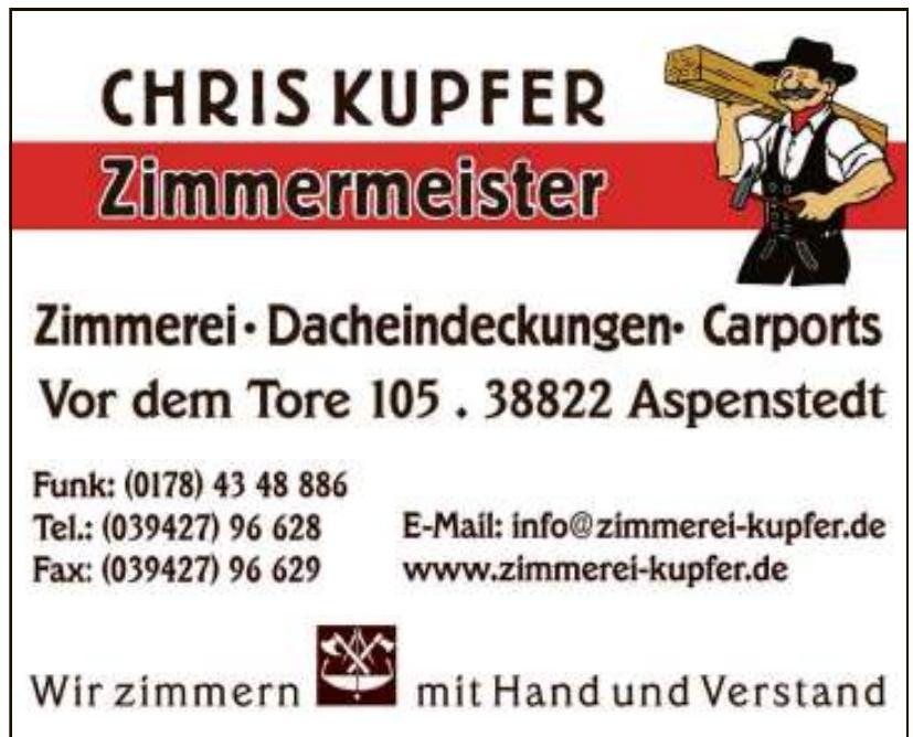 Zimmermeister Chris Kupfer