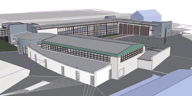 3-D-Modell der neuen Grundschulbauten.